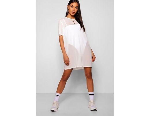27b91c6fa8f Lyst - Boohoo Oversized Mesh T-shirt Dress in White