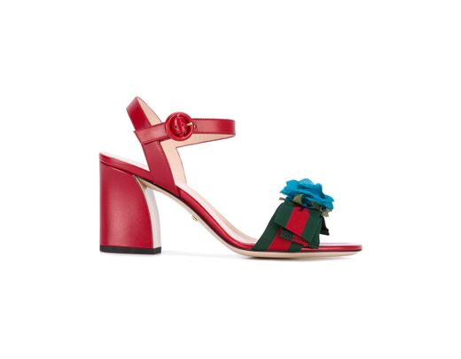 ad154d23e Lyst - Gucci Floral-embellished Sandals in Red