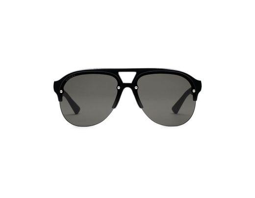 925639f946 Lyst - Gucci Aviator Rubber Sunglasses in Black for Men