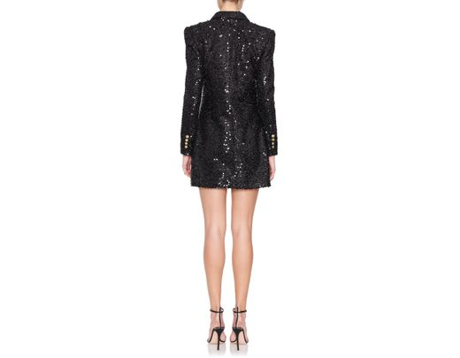 98055ff3 Balmain Double Breasted Sequin Blazer Dress in Black - Lyst