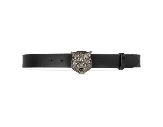 8f422afe1 Gucci Leather Belt With Feline Head in Black for Men - Save 13% - Lyst