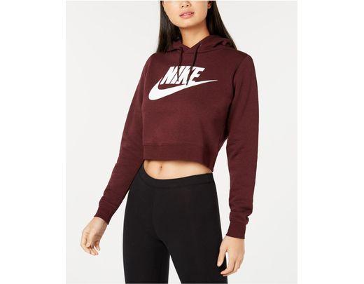 21929eea9 Nike Sportswear Rally Logo Cropped Fleece Hoodie - Lyst