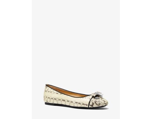 88a4a3f42293 Lyst - Michael Kors Alice Snakeskin Ballet Flat in Natural