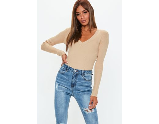 3363339fb18 Missguided Camel Ultimate Plunge Knitted Bodysuit in Natural - Lyst