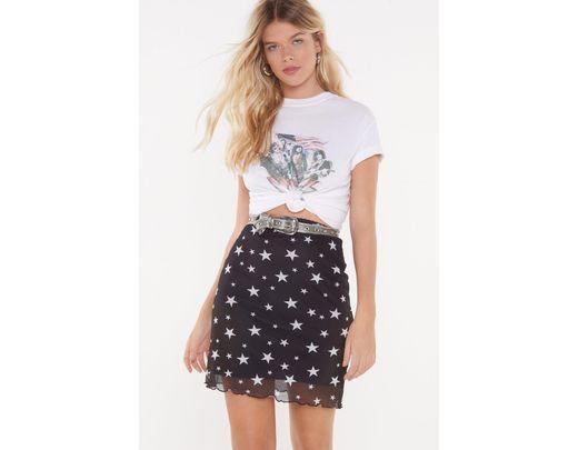 b810aad321e60 Nasty Gal Space Oddity Star Mesh Skirt in Black - Lyst