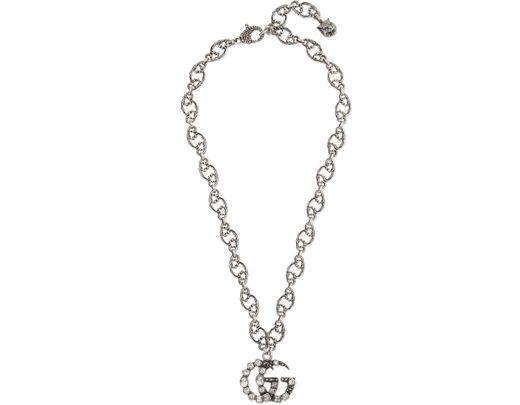 df9f85397126e Lyst - Gucci Oxidized Silver-tone Crystal Necklace in Metallic