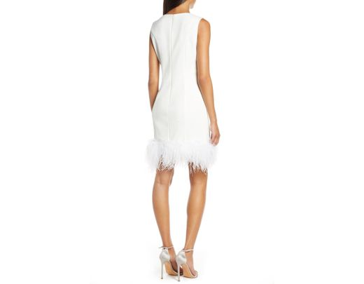 a0773b0f Eliza J Feather Cocktail Dress in White - Lyst