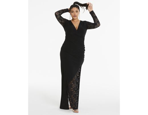 bf6dadba9b0 Lyst - Simply Be By Night Lace Insert Maxi Dress in Black