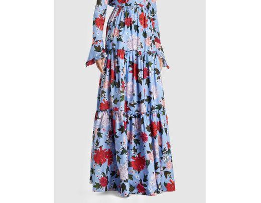 78e46c2158 Erdem Sigrid Floral-print Cotton Maxi Skirt in Blue - Lyst