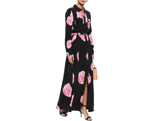 eb45b8d8 Ganni Woman Fayette Floral-print Silk Maxi Shirt Dress Black in Black -  Save 53% - Lyst