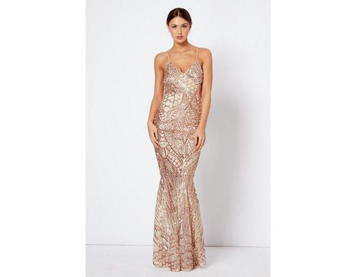 bf138e40d44 Club L sequin Fishtail Maxi Dress By in Metallic - Lyst