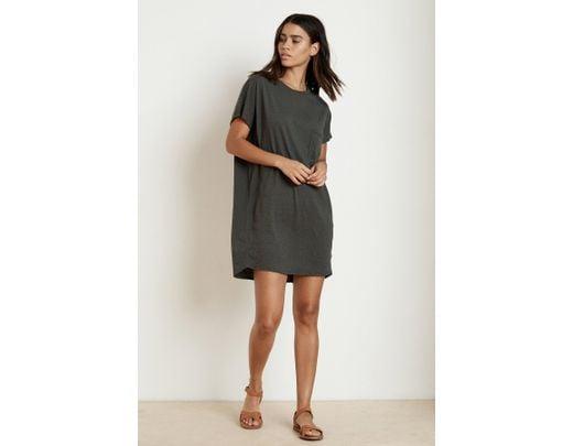 ab5d5b6ca35 Velvet By Graham & Spencer Annie Cotton Slub T-shirt Dress in Black - Lyst