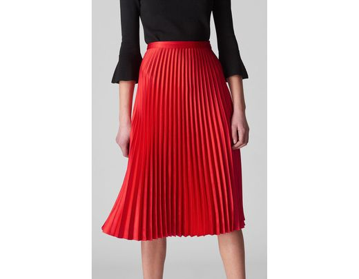 4b79f04bb Whistles Satin Pleated Skirt in Red - Save 42% - Lyst