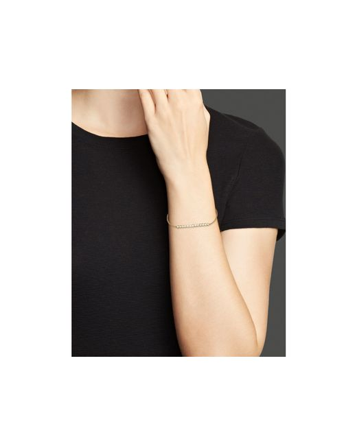 Zoe Chicco | Metallic Diamond And 14k Gold Bezel Bar Bracelet | Lyst