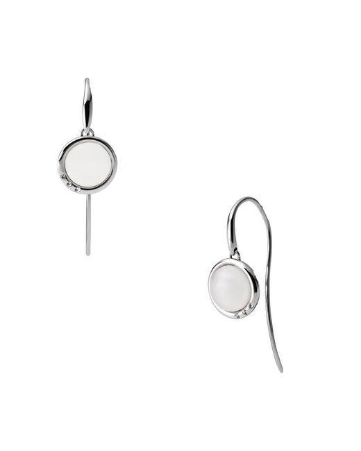 Skagen | Metallic Classic White Glass Silver Steel Earrings | Lyst