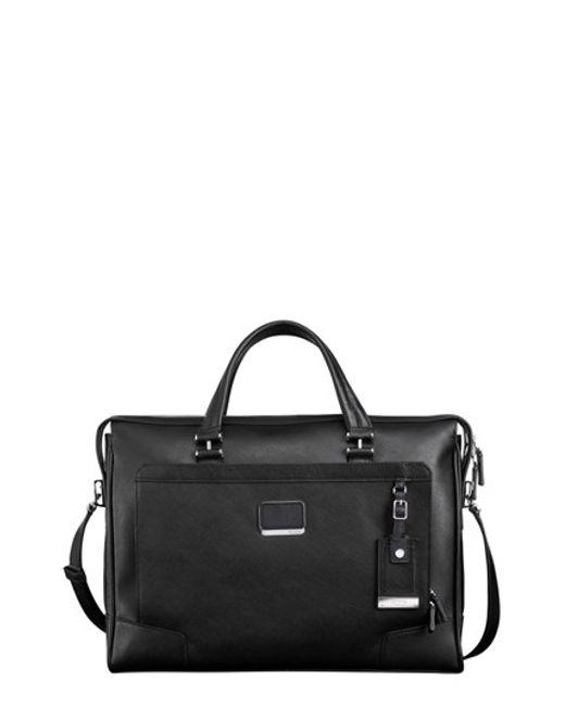Tumi | Black 'astor Regis - Slim' Zip Top Italian Leather Briefcase for Men | Lyst