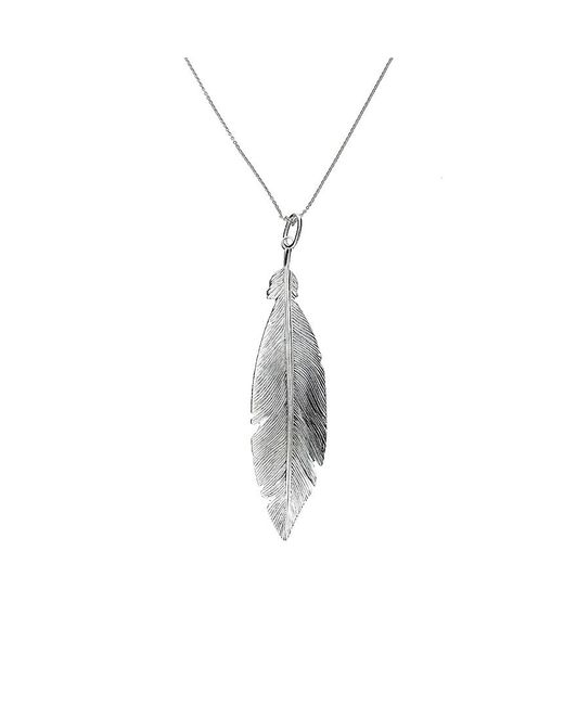 Azendi | Metallic Sterling Silver Feather Pendant | Lyst