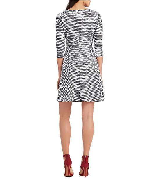 Donna Morgan | Black Textural Wave Fit-and-flare Dress | Lyst