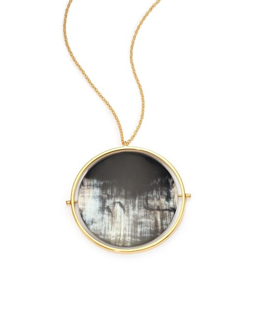 Nest | Gray Horn Disc Statement Pendant Necklace | Lyst