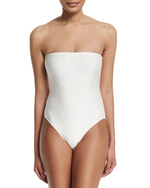 marie france van damme rafia bandeau one piece swimsuit in white lyst. Black Bedroom Furniture Sets. Home Design Ideas
