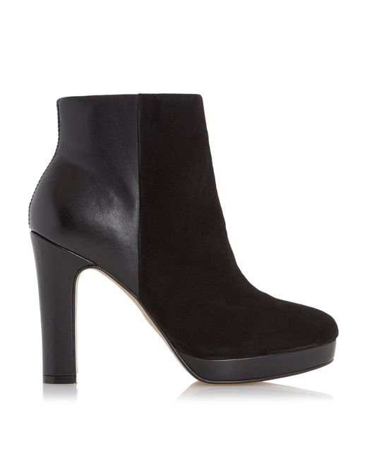 Dune | Black Olympe Leather Mix Heeled Ankle Boots | Lyst