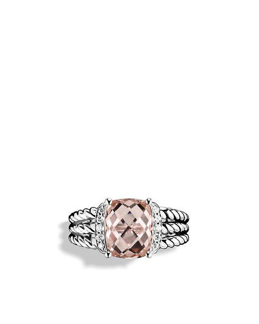 David Yurman | Metallic Petite Wheaton Ring With Morganite And Diamonds | Lyst