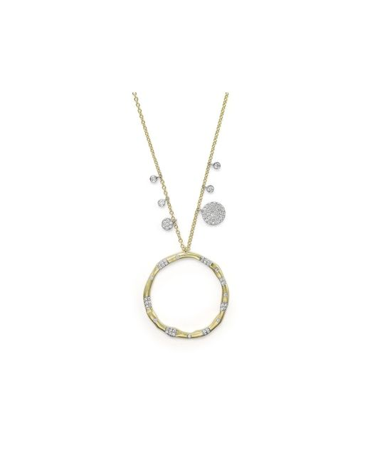Meira T | Metallic 14k Yellow Gold And Diamond Open Circle Charm Necklace, 16"