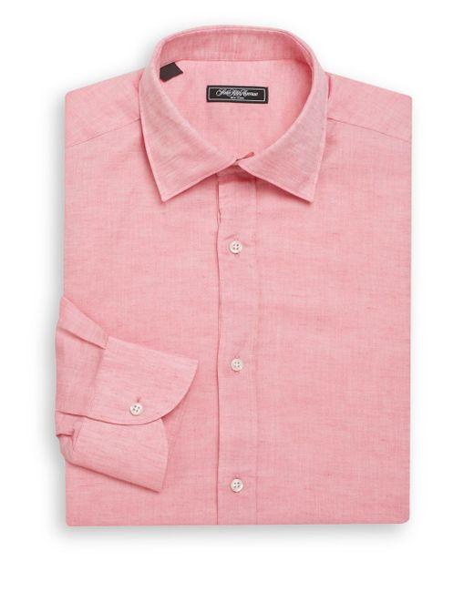 Saks Fifth Avenue | Pink Classic-fit Linen & Cotton Dress Shirt for Men | Lyst