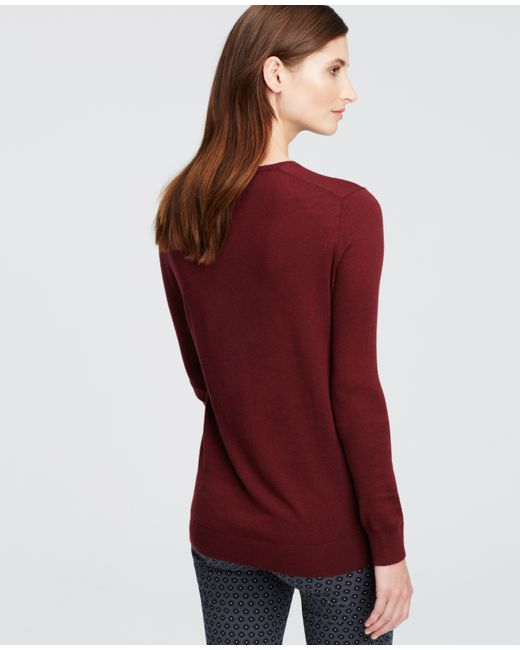 Ann Taylor | Red Petite V-neck Sweater | Lyst