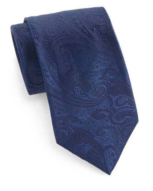 Saks Fifth Avenue | Blue Boxed Paisley Silk Tie for Men | Lyst