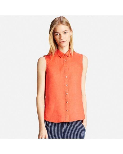 Uniqlo Women 39 S Premium Linen Sleeveless Shirt In Orange Lyst