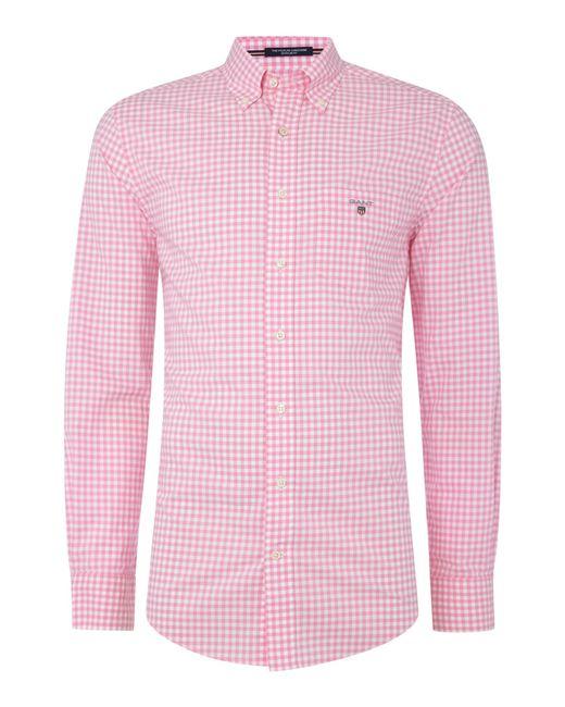Gant Small Gingham Check Poplin Shirt In Pink For Men Lyst