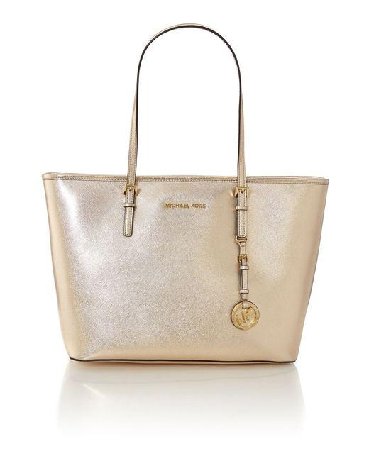 michael kors jet set travel gold shoulder tote bag in gold