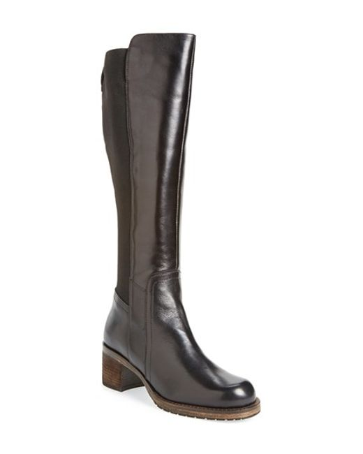dune knee high boots in brown brown leather lyst