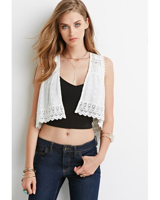 Forever 21 | White Embroidered Open-front Vest | Lyst