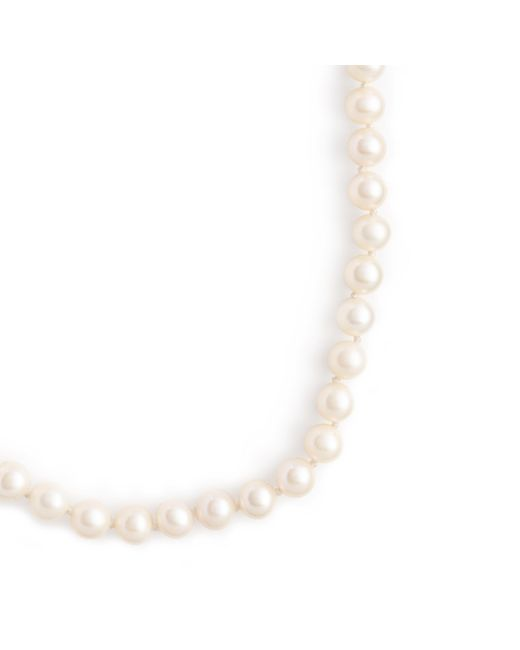 J.Crew | White Ribbon-tied Long Pearl Necklace | Lyst