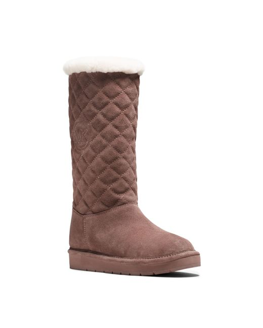 Michael Kors Sandy Quilted Suede Boot In Pink Dusty Rose