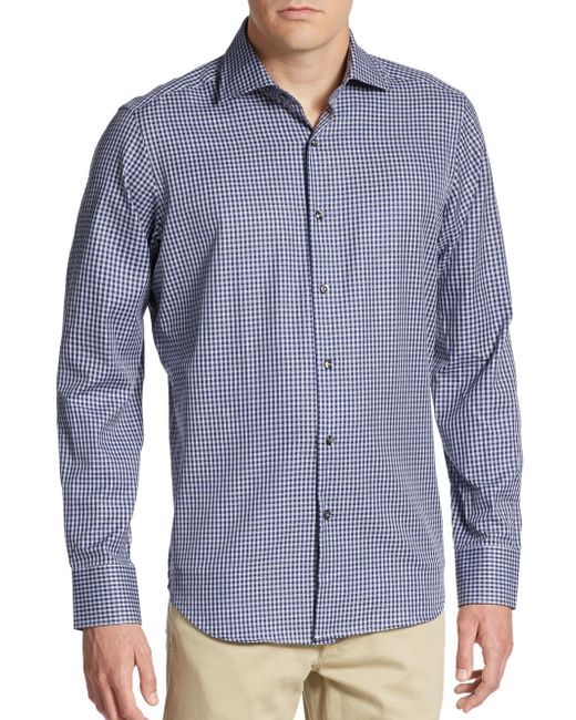 Saks Fifth Avenue | Blue Regular-fit Gingham Cotton Sportshirt for Men | Lyst