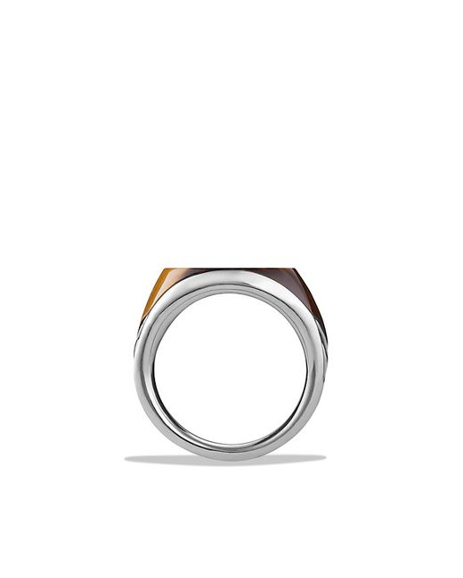 David Yurman | Metallic Chevron Signet Ring With Tiger's Eye for Men | Lyst