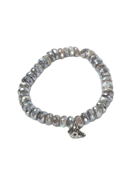 Sydney Evan | Gray 10Mm Mystic Labradorite Beaded Bracelet With 14K White Gold/Diamond Small Evil Eye Charm (Made To Order) | Lyst