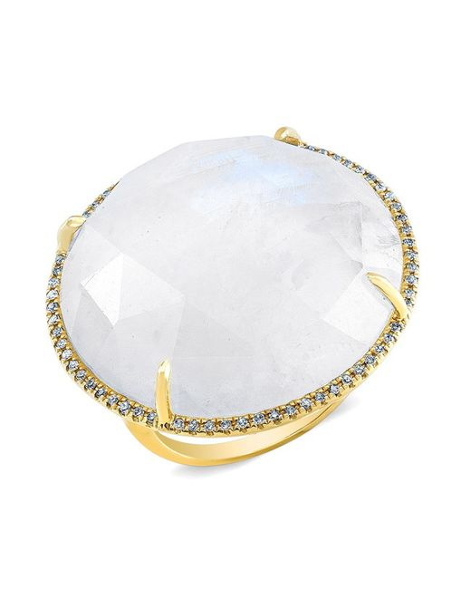 Anne Sisteron | Metallic 14kt Yellow Gold Moonstone Diamond Cocktail Ring | Lyst