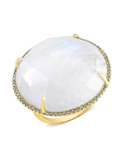 Anne Sisteron | Metallic 14kt Yellow Gold Moonstone Diamond Cocktail Ring | Lyst
