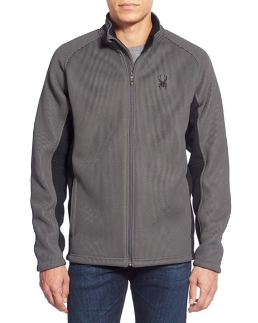 Spyder | Gray 'foremost' Zip Front Knit Sweater for Men | Lyst