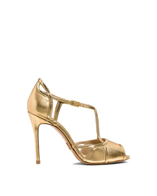 Michael Kors | Caryn Metallic Leather Sandal | Lyst