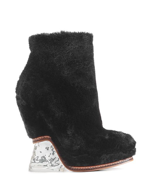 Fendi | Shearling And Leather Ankle Boots - Black | Lyst