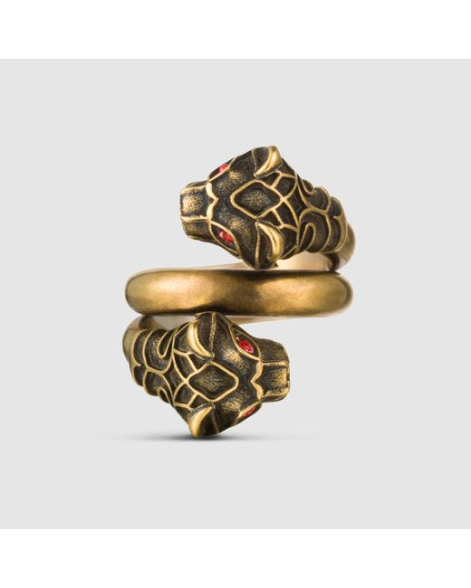 Gucci | Metallic Tiger Head Ring for Men | Lyst