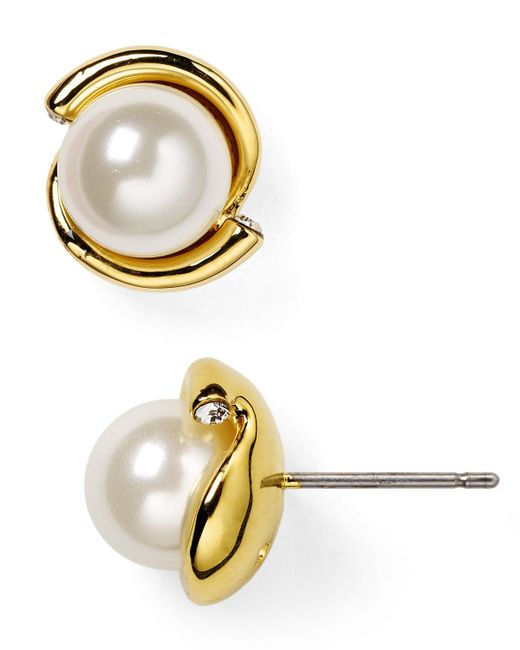 Kate Spade | Natural Dainty Sparkler Faux Pearl Stud Earrings | Lyst