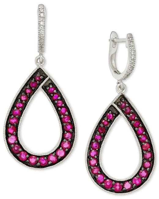 Macy's | Pink Ruby (1-9/10 Ct. T.w.) And Diamond (1/10 Ct. T.w.) Teardrop Earrings In 14k White Gold | Lyst