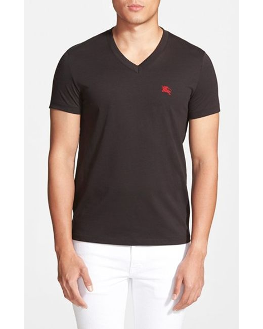 Burberry Brit | Black 'lindon' V-neck Cotton T-shirt for Men | Lyst