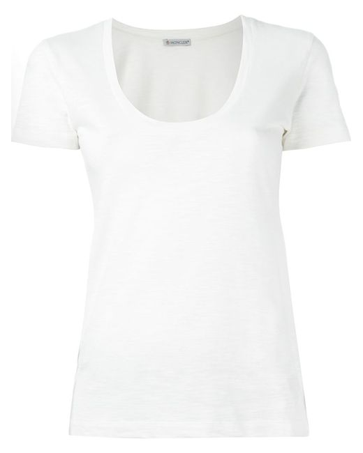 Moncler scoop neck cotton t shirt in white lyst for Off white moncler t shirt